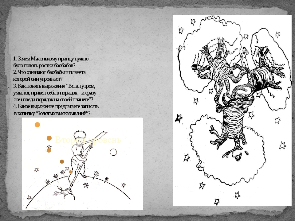 1. Зачем Маленькому принцу нужно було полоть ростки баобабов? 2. Что означают...