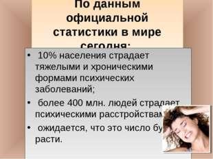 По данным официальной статистики в мире сегодня: 10% населения страдает тяже