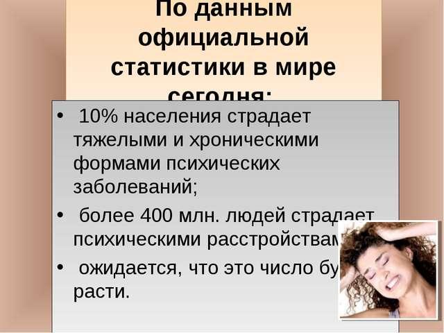 По данным официальной статистики в мире сегодня: 10% населения страдает тяже...
