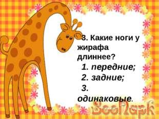 3. Какие ноги у жирафа длиннее? 1. передние; 2. задние; 3. одинаковые.