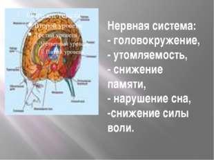Нервная система: - головокружение, - утомляемость, - снижение памяти, - наруш