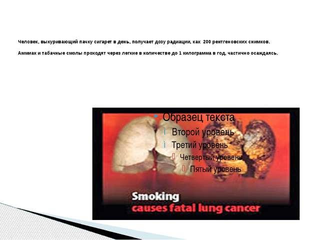 Человек, выкуривающий пачку сигарет в день, получает дозу радиации, как 200...