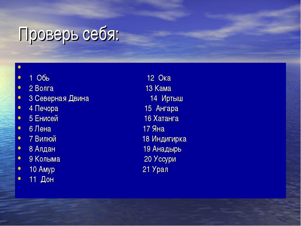 Проверь себя: 1 Обь 12 Ока 2 Волга 13 Кама 3 Северная Двина 14 Иртыш 4 Печора...
