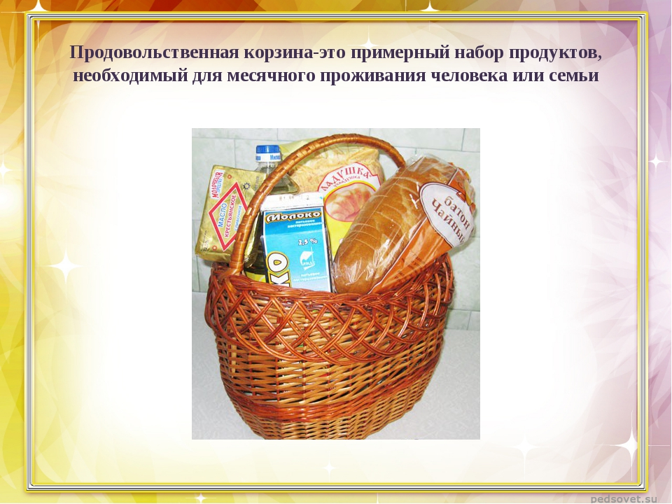 Продовольственная корзина-это примерный набор продуктов, необходимый для меся...