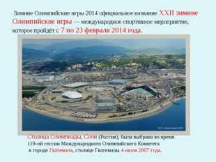 Зимние Олимпийские игры 2014 официальное название XXII зимние Олимпийские иг