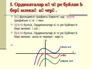 I. Ординаталар күчәре буйлап b берәмлеккә күчерү. f(x) функциясе графигы бир