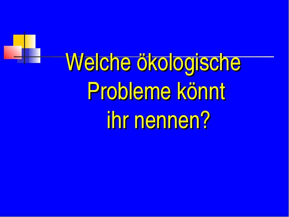 Welche ökologische Probleme könnt ihr nennen?