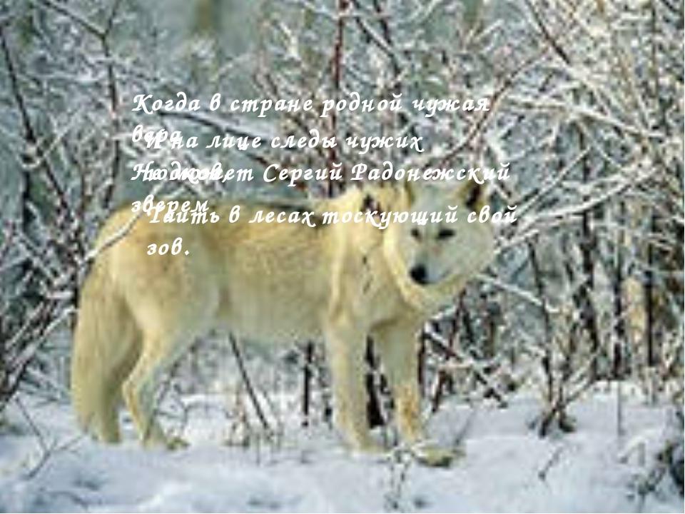 Когда в стране родной чужая вера И на лице следы чужих подков, Не может Серг...