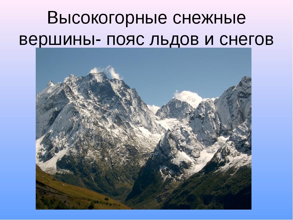 Высокогорные снежные вершины- пояс льдов и снегов