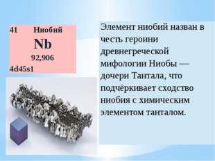 41 Ниобий Nb 92,906 4d45s1 Элемент ниобийназван в честь героини древнегреческ