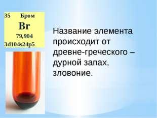Название элемента происходит от древне-греческого –дурной запах, зловоние. 35