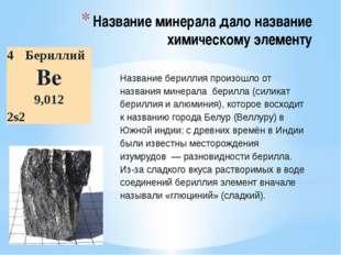 Название минерала дало название химическому элементу Название бериллия произо