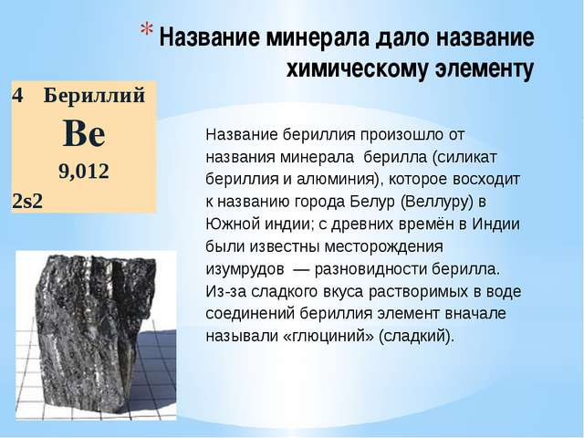 Название минерала дало название химическому элементу Название бериллия произо...