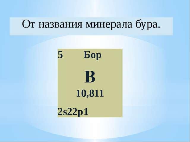 От названия минералабура. 5 Бор B 10,811 2s22p1