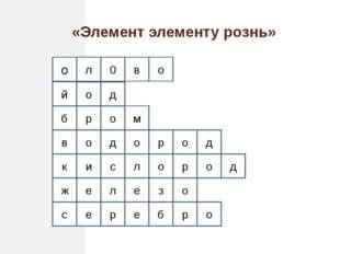 «Элемент элементу рознь» о о д о в 0 л р р о и е е с ж к в б й о л с о з е л