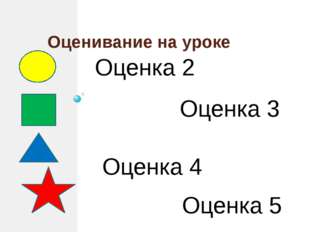 Оценивание на уроке Оценка 2 Оценка 3 Оценка 4 Оценка 5