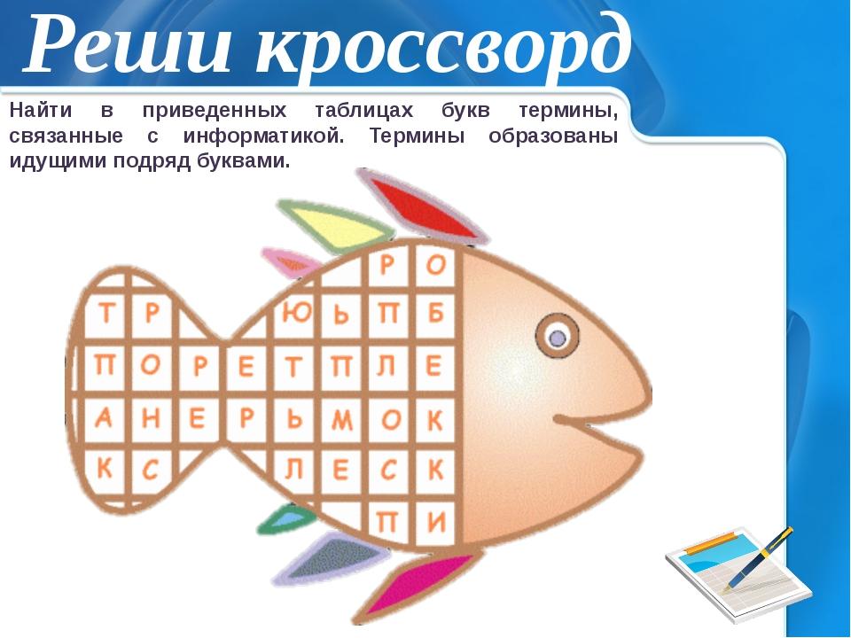 Реши кроссворд Найти в приведенных таблицах букв термины, связанные с информа...