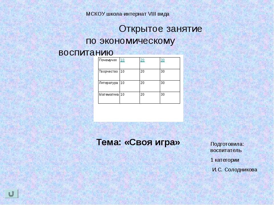 МСКОУ школа-интернат VIII вида Открытое занятие по экономическому воспитанию...