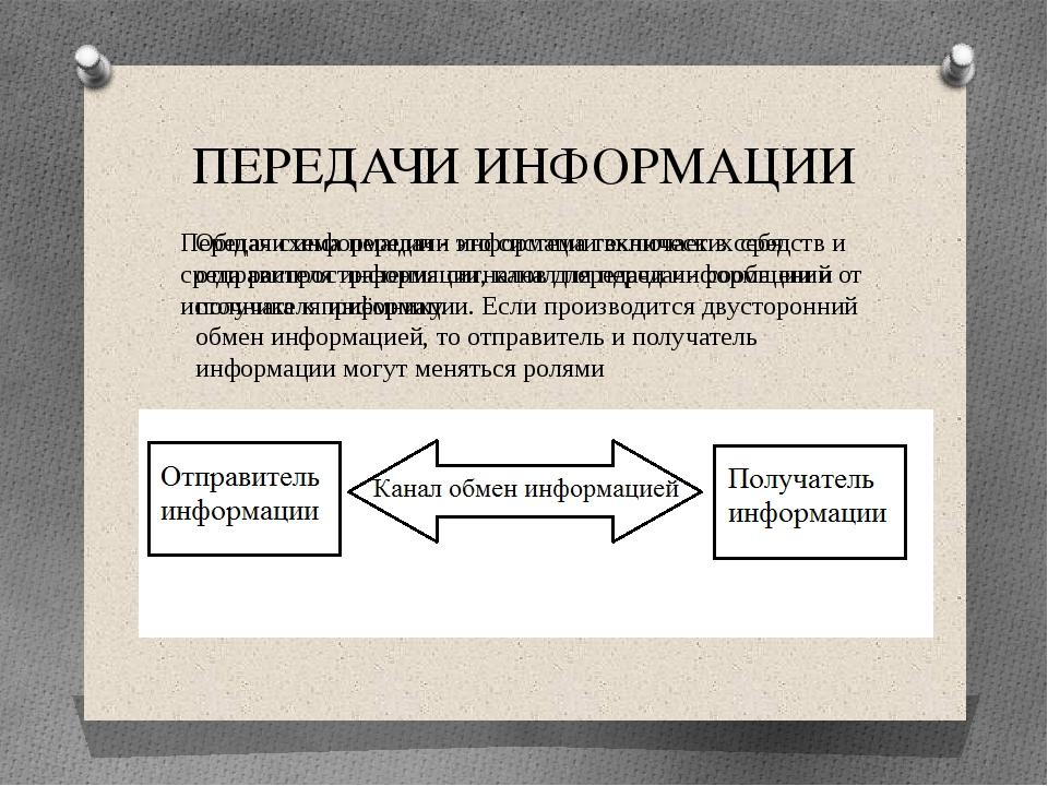 ПЕРЕДАЧИ ИНФОРМАЦИИ Передачи информации - это система технических средств и с...