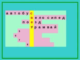 а в т о б у с в е л о с и п е д 7 6 5 4 8 п о е з д т р а м в а й