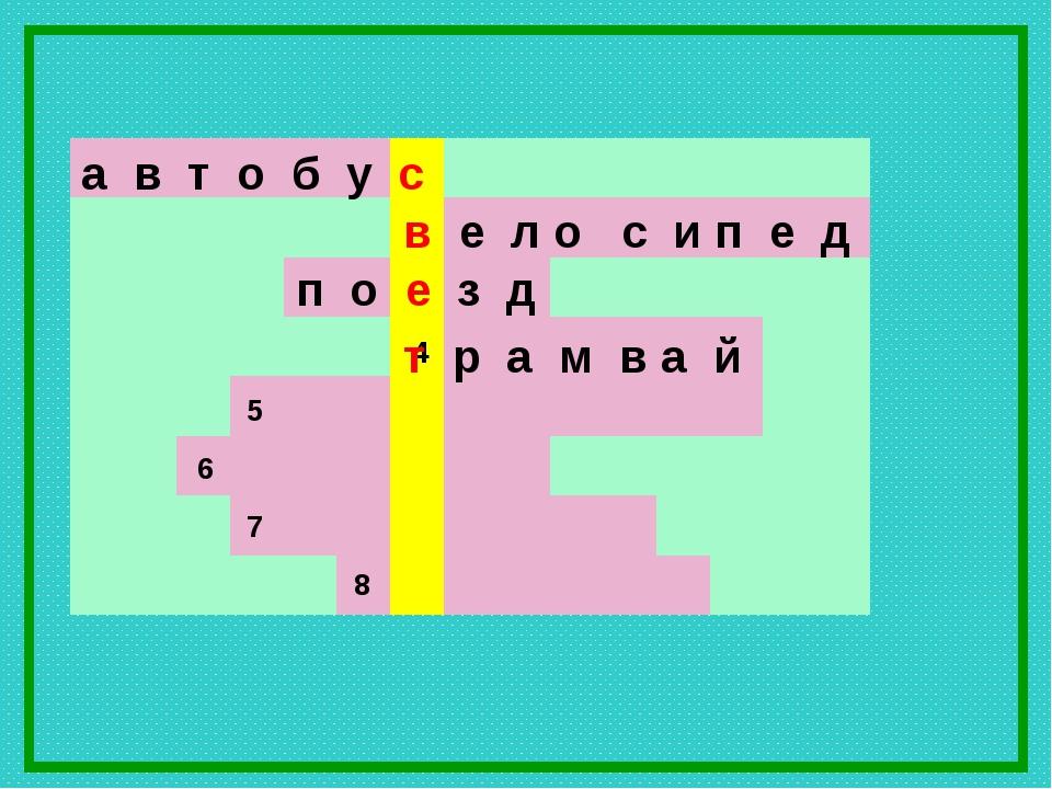 а в т о б у с в е л о с и п е д 7 6 5 4 8 п о е з д т р а м в а й...
