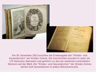 """Am 20. Dezember 1812 erschien die Erstausgabe der """"Kinder- und Hausmärchen"""" d"""
