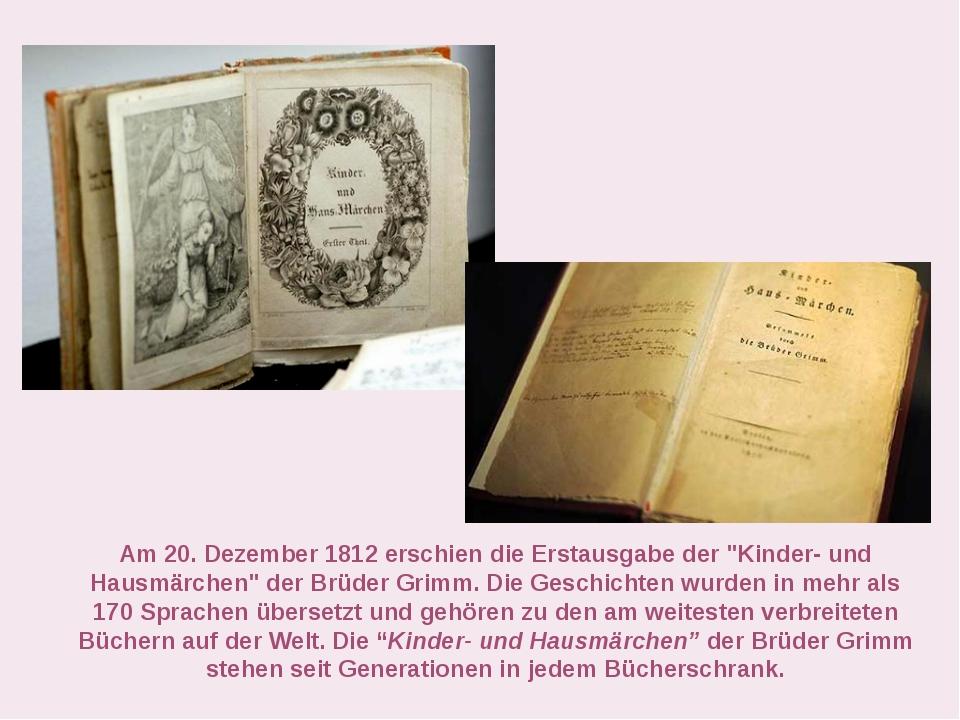 """Am 20. Dezember 1812 erschien die Erstausgabe der """"Kinder- und Hausmärchen"""" d..."""