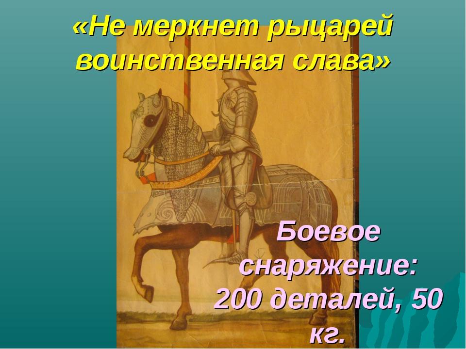 «Не меркнет рыцарей воинственная слава» Боевое снаряжение: 200 деталей, 50 кг.