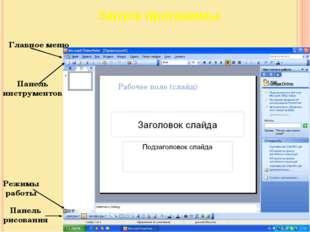 Главное меню Запуск программы Панель инструментов Панель рисования Режимы раб