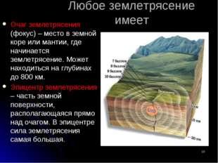 Любое землетрясение имеет Очаг землетрясения (фокус) – место в земной коре ил
