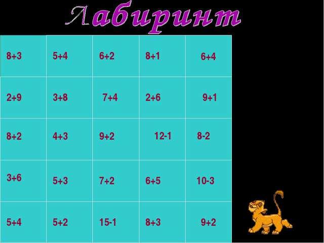 6+4 8+3 5+4 9+2 7+2 6+5 10-3 12-1 8-2 2+6 9+1 8+1 6+2 3+8 8+2 4+3 5+4 3+6 5+3...