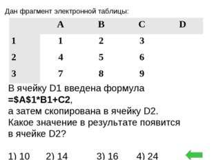 Дан фрагмент электронной таблицы: В ячейку D1 введена формула =$А$1*В1+С2, а