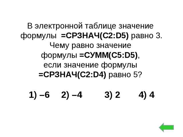 В электронной таблице значение формулы =СРЗНАЧ(C2:D5) равно 3. Чему равно зна...