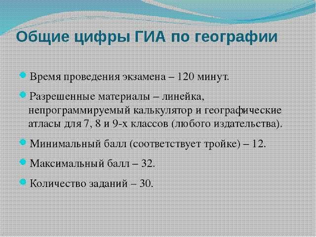 Общие цифры ГИА по географии Время проведения экзамена – 120 минут. Разрешенн...