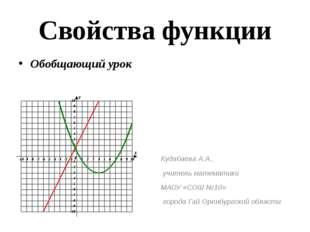 Свойства функции Обобщающий урок Кудабаева А.А., учитель математики МАОУ «СОШ