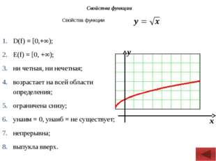 Свойства функции D(f) = [0,+∞); Е(f) = [0, +∞); ни четная, ни нечетная; возр