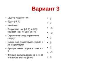 Вариант 3 D(y) = (-∞;0)U(0;+ ∞) Е(y) = (-5; 5) Нечётная Возрастает на [-3; 0)