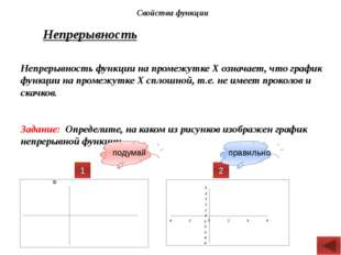 Непрерывность Непрерывность функции на промежутке Х означает, что график функ
