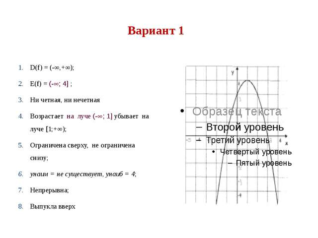 Вариант 1 D(f) = (-∞,+∞); Е(f) = (-; 4] ; Ни четная, ни нечетная Возрастает...