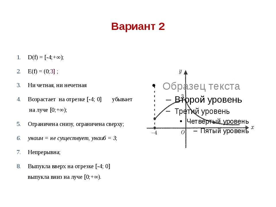 Вариант 2 D(f) = [-4;+∞); Е(f) = (0;3] ; Ни четная, ни нечетная Возрастает на...