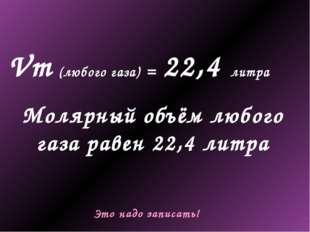 Vm (любого газа) = 22,4 литра Молярный объём любого газа равен 22,4 литра Это