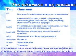 Тип носителя и их описание Использование типов носителей совместно с импортом