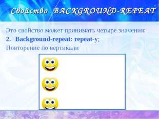 Свойство BACKGROUND-REPEAT Это свойство может принимать четыре значения: Back