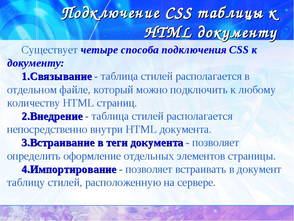 Подключение CSS таблицы к HTML документу Существует четыре способа подключени...