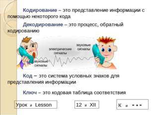 Кодирование – это представление информации с помощью некоторого кода Код –