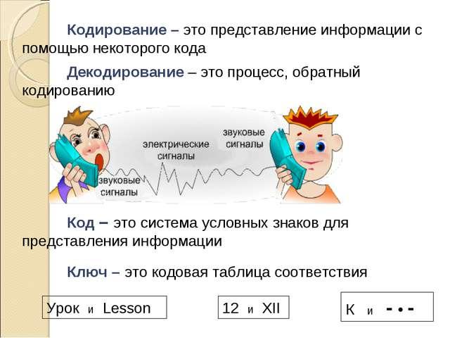 Кодирование – это представление информации с помощью некоторого кода Код –...