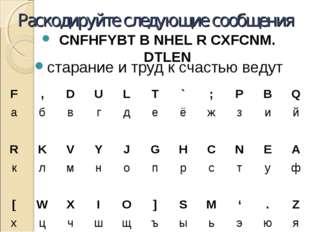 Раскодируйте следующие сообщения CNFHFYBT B NHEL R CXFCNM. DTLEN старание и т