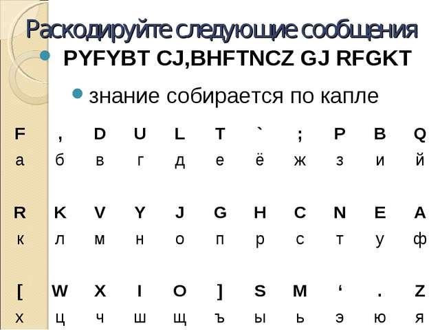 Раскодируйте следующие сообщения PYFYBT CJ,BHFTNCZ GJ RFGKT знание собирается...