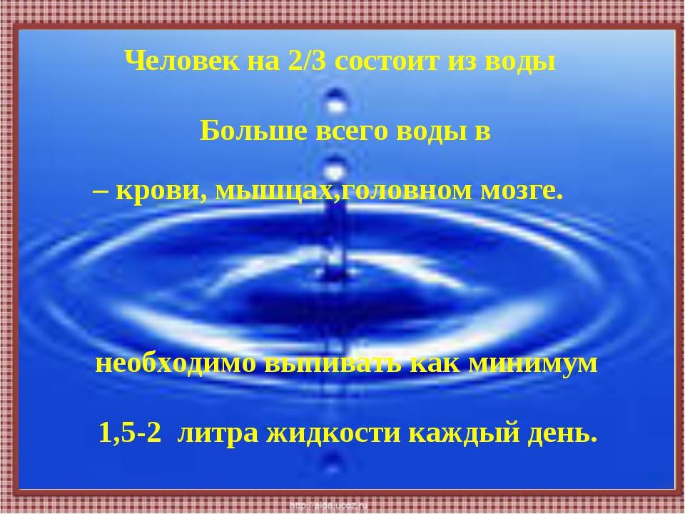 Человек на 2/3 состоит из воды необходимо выпивать как минимум Больше всего в...