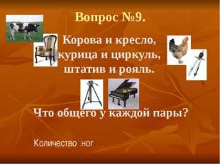 Вопрос №9. Корова и кресло, курица и циркуль, штатив и рояль. Что общего у ка